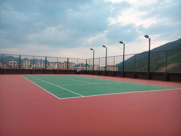 广西灌阳县红豆沙大酒店硅PU网球场完工